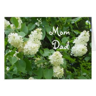 Lilas de blanc de maman et de papa carte de vœux