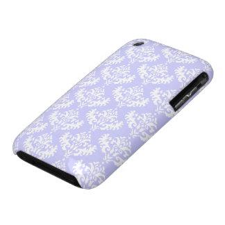 Lilas et motif féminin blanc de damassé coque iPhone 3
