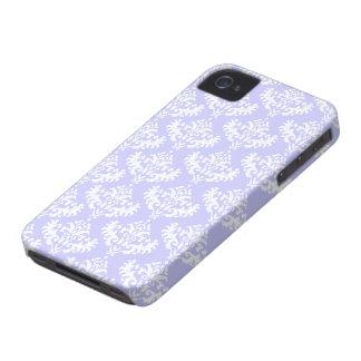 Lilas et motif luxueux blanc de damassé coques iPhone 4