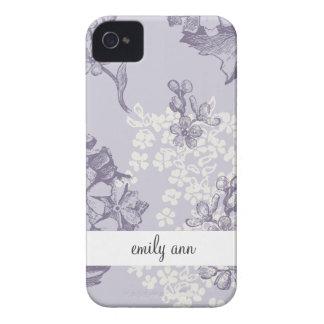 Lilas imprimés par cru dans pourpre et blanc coques Case-Mate iPhone 4