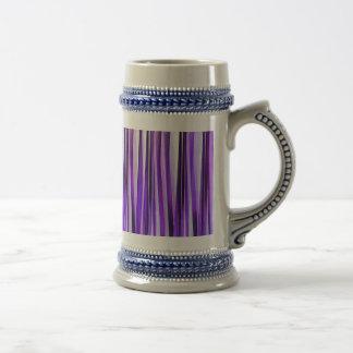 Lilas luxueux, pourpre et motif rayé argenté chope à bière