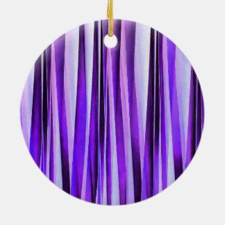 Lilas luxueux, pourpre et motif rayé argenté ornement rond en céramique