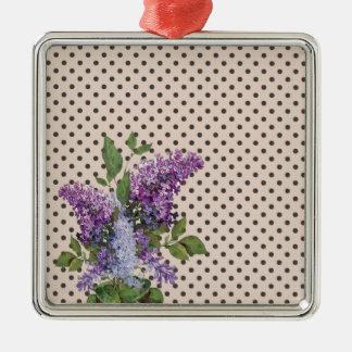 Lilas vintage ornement carré argenté