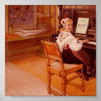 Lillanna pratiquant Mozart sur le piano Affiches