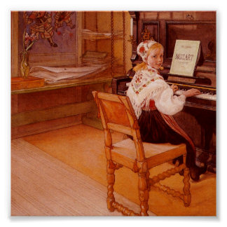 Lillanna pratiquant Mozart sur le piano Poster