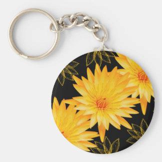 Lillies noirs et jaunes élégants - porte-clé rond