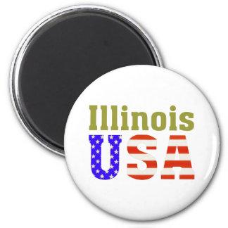 L'Illinois Etats-Unis ! Magnet Rond 8 Cm
