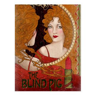 L'illustration aveugle de cru de porc carte postale