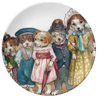 L'illustration de cru de famille de chien assiettes en porcelaine