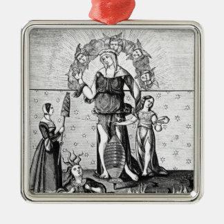 L'image de dame Astrology avec les trois Ornement Carré Argenté