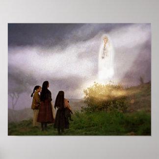 L'image de dévotion d'apparition de Fatima Poster