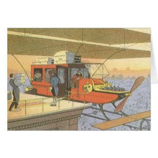 Limousine vintage d'hélicoptère d'avion de la carte de vœux
