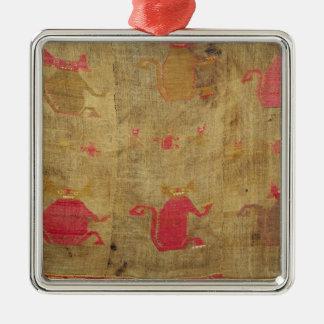 Linceul péruvien ; coton et vigogne brochés ornement carré argenté