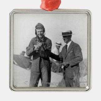 Lindbergh et Wright - avion détruit Ornement Carré Argenté
