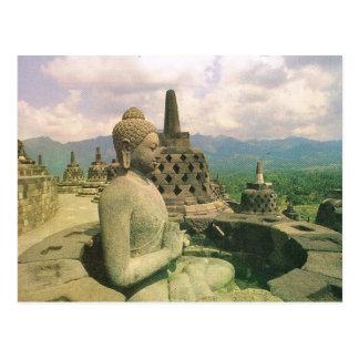 L'Indonésie vintage, temple de Borobodur Carte Postale