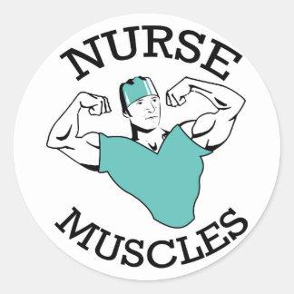 L'infirmière masculine Muscles le logo Sticker Rond