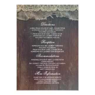 L'information rustique de mariage de dentelle en carton d'invitation  11,43 cm x 15,87 cm