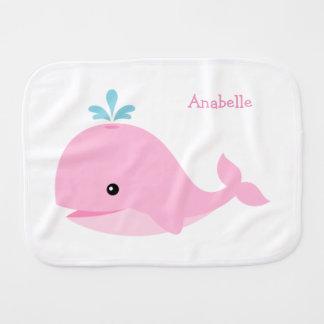 Linge De Bébé Baleine rose mignonne personnalisée