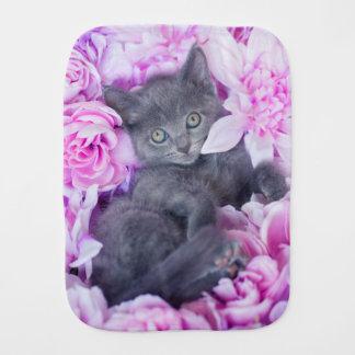 Linge De Bébé Floral pourpre de chaton de couvreur