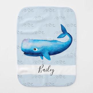 Linge De Bébé La baleine bleue d'aquarelle de la mer du garçon