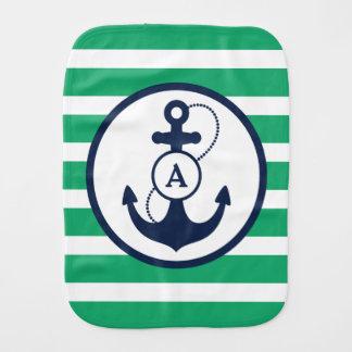 Linge De Bébé Monogramme nautique vert d'ancre