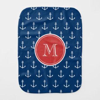 Linge De Bébé Motif blanc d'ancres de bleu marine, monogramme