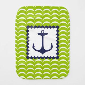 Linge De Bébé Motif de vagues vertes nautique d'ancre de bleu