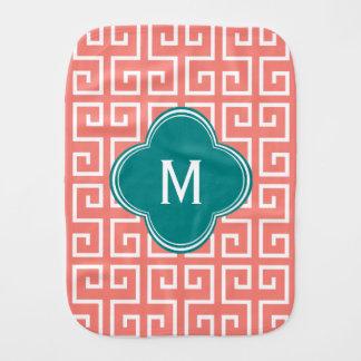 Linge De Bébé Motif géométrique rose de monogramme, blanc,