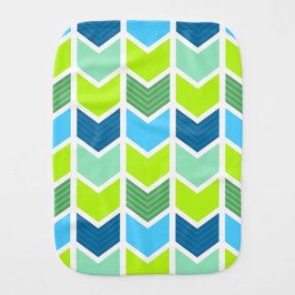 Linge De Bébé Motif géométrique vert et bleu moderne de Chevron