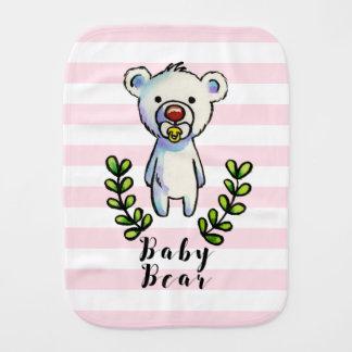 Linge De Bébé Rayures de rose d'illustration d'aquarelle d'ours