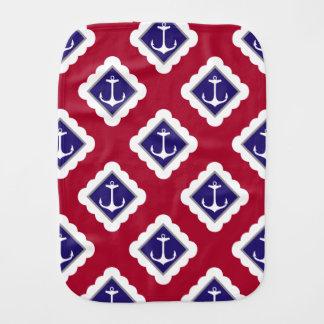 Linge De Bébé Rouge, bleu marine, motif nautique d'ancres