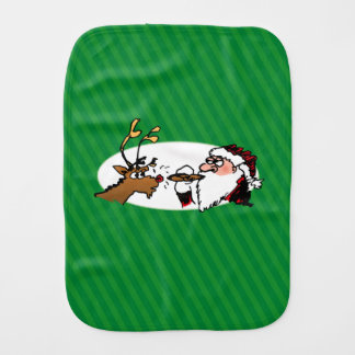Linge De Bébé Stogie Père Noël et renne sur les rayures vertes