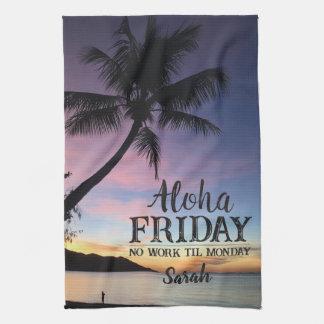 Linge De Cuisine Aloha coucher du soleil de paume d'Hawaï de
