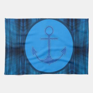 Linge De Cuisine ancre nautique abstraite moderne de rayures bleues