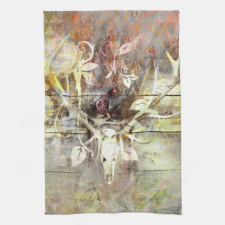 Linge De Cuisine Andouillers en bois floraux rustiques de crâne de