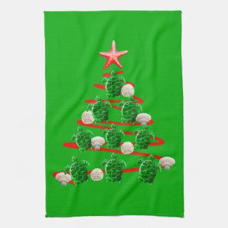 Linge De Cuisine Arbre de Noël de tortues de mer verte