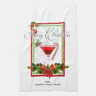 Linge De Cuisine Art d'aquarelle de cocktail de Noël