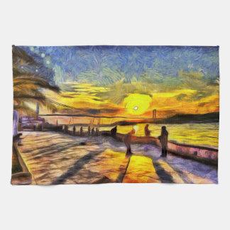 Linge De Cuisine Art de coucher du soleil de Bosphorus Istanbul