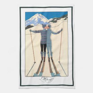 Linge De Cuisine Art déco vintage, amants dans la neige par George