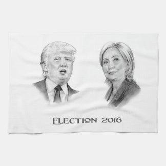 Linge De Cuisine Atout et portraits de crayon de Hillary, élection