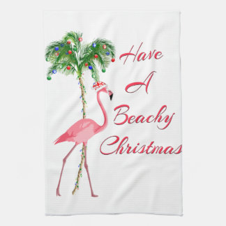 Linge De Cuisine Ayez un flamant pour la plage de Noël
