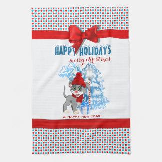 Linge De Cuisine Bande dessinée de Noël de chiot de nez de coeur