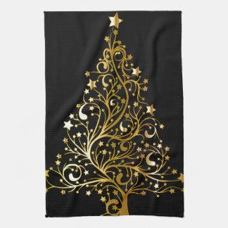 Linge De Cuisine Bel arbre de Noël métallique étoilé d'or
