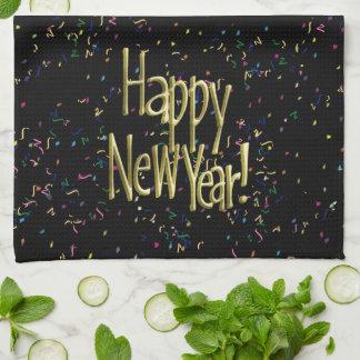 Linge De Cuisine Bonne année - texte d'or sur les confettis noirs