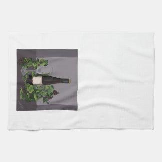 Linge De Cuisine Bouteille et raisins de vin