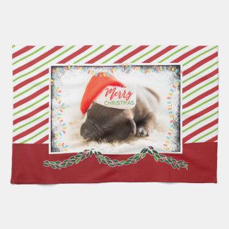 Linge De Cuisine Carlin de Noël dans le casquette de Père Noël avec
