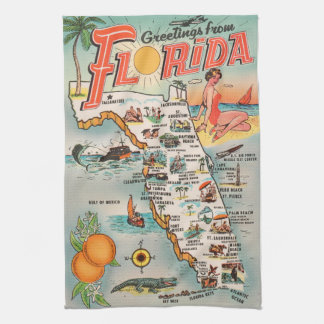Linge De Cuisine Carte vintage de la Floride des attractions