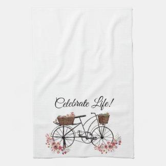 Linge De Cuisine Célébrez la bicyclette florale vintage de ferme de