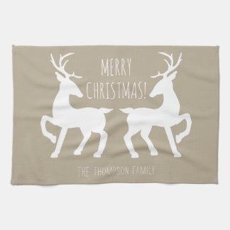 Linge De Cuisine Cerfs communs beiges et blancs avec Noël nommé