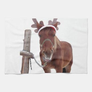 Linge De Cuisine Cerfs communs de cheval - cheval de Noël - cheval
